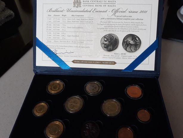 Estojo BNC -Malta - 2011 com 9 moedas