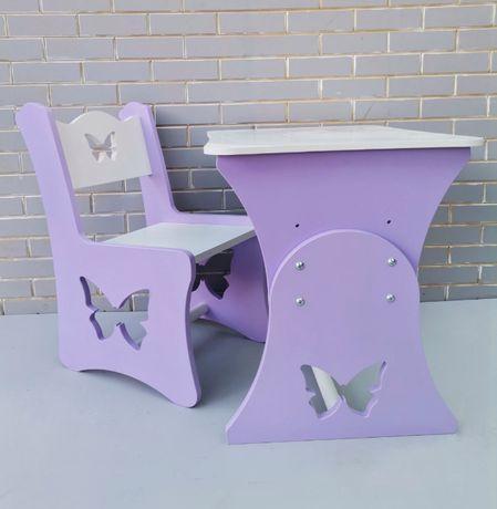 Стол и стул детский вырезы мотылек фиолетовый цвет(арт 24).Для детей