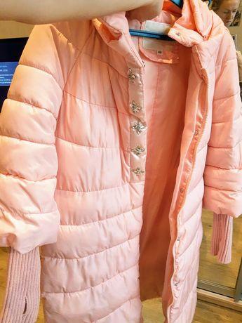 Нежный пуховик розовый пудра рюкзак в подарок