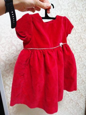 Платье на праздник девочка 3-6 мес. красное бархат