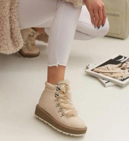 Стильные демисезонные бежевые ботинки для девочки подростка 36 р