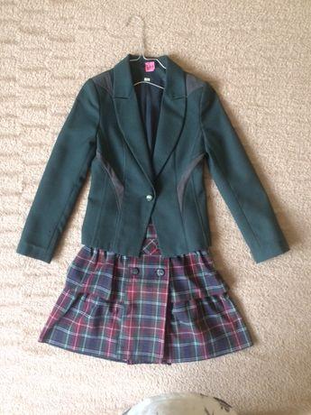 Школьная форма зеленый пиджак и юбка шотландка