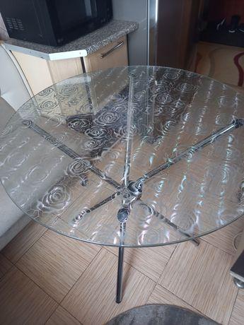 Стол стеклянный, круглый, кухонный.