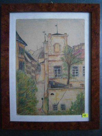 Obraz , Lublin , dzielnica żydowska , pastel ,S.P., 35x45 cm.