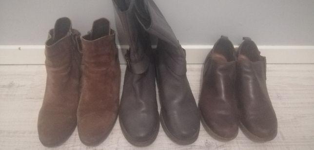 Paka butów damskich skórzanych Clarks, Lasocki, r. 41