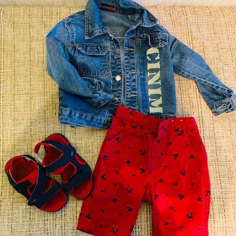 Продам комплектуем куртка джинс, шорты и сандалии 104/1110