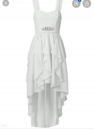 Sukienka biała asymetryczna ślubna wesele koktajlowa rozkloszowana