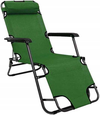 Leżak na plażę Składany Ogrodowy Fotel Plażowy zielony niska cena