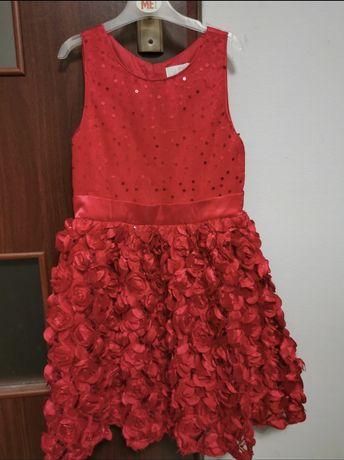 Piękna sukienka cool club, czerwona w róże dla dziewczynki 128cm
