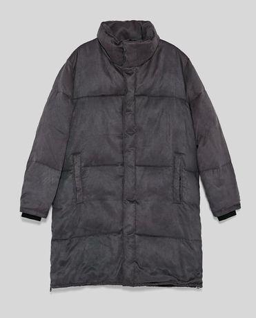 ZARA nowy płaszcz puchowy męski S oversize jak M kurtka długa puchowa