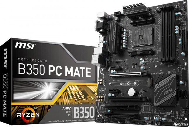 Материнська плата MSI B350 PC Mate (sAM4, AMD B350, PCI-Ex16)