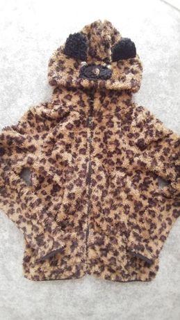 Bluza z kapturem Miś Plusz ciepła Cętki panterka beż brąz czarny L XL