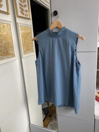 Niebieska bluzka elegancka wizytowa bez rękawów golf vero moda L 40