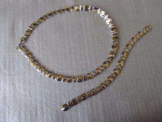Biżuteria srebrno-złota (naszyjnik i bransoletka)