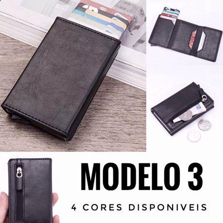 """Carteira com Porta Cartões RFID - Modelo 3 - Estilo """"Secrid"""""""