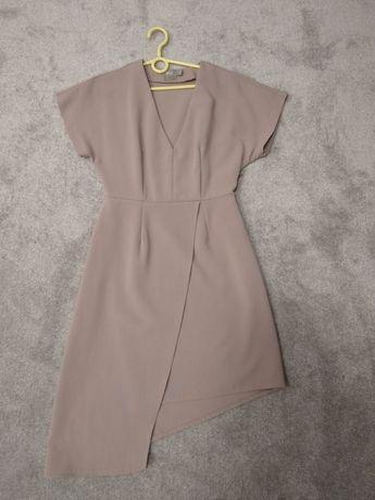Asymetryczna sukienka ASOS 34 36 beżowa elegancka do pracy