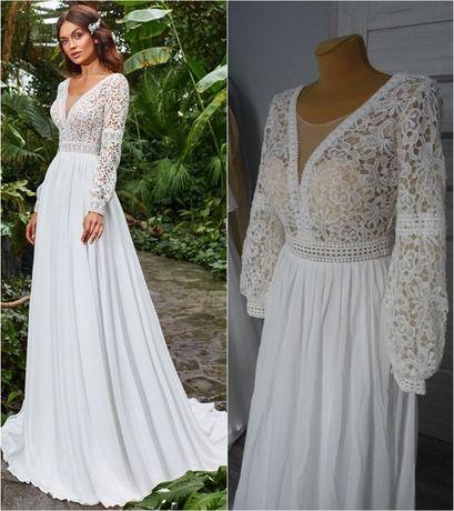 okazja nowa koronkowa suknia ślubna w tylu boho 36/38 z długim rękawe