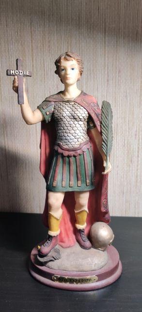 Estatueta S Expedito em marfinite-Louças Falcão;Bom estado;30 cm