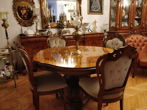 Stylowy włoski stół Barok i cztery krzesła