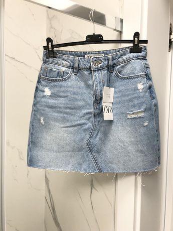Spodniczka jeansowa zara S niebieska mini krotka nowa