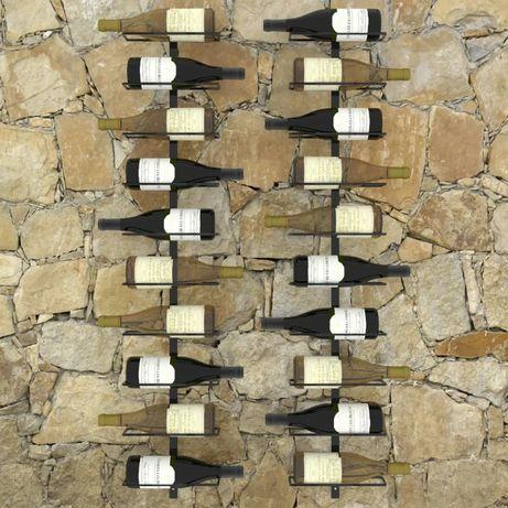 Ścienne uchwyty na 20 butelek wina, 2 szt., czarne, stalowe, nowe