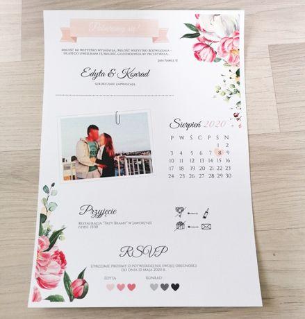 Zaproszenie na ślub składane ze zdjęciem piwonie