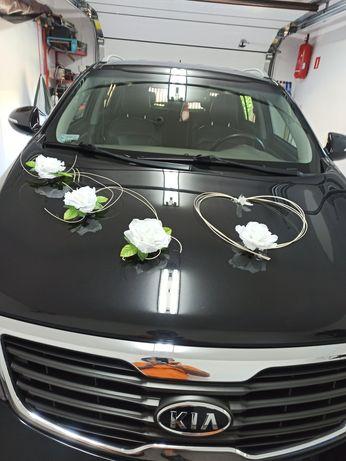 Dekoracja ślubna samochodu,ozdoby na auto do ślubu, przybranie ślubne