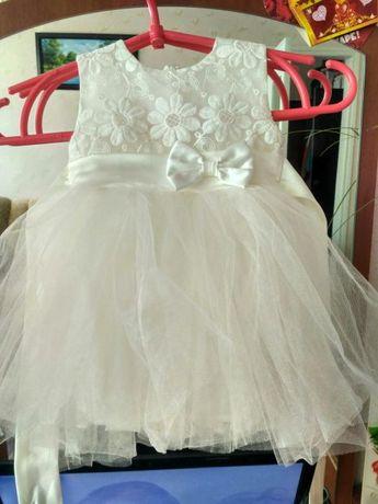 Новогоднее платье на девочку с фатином на годовщину, крещение