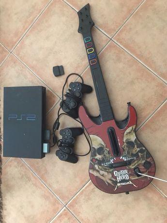 PlayStation 2 +guitarra+2 comandos + jogos