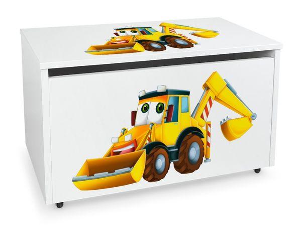 Duża drewniana skrzynia na zabawki XXL na kółkach Motyw: Pan Koparka