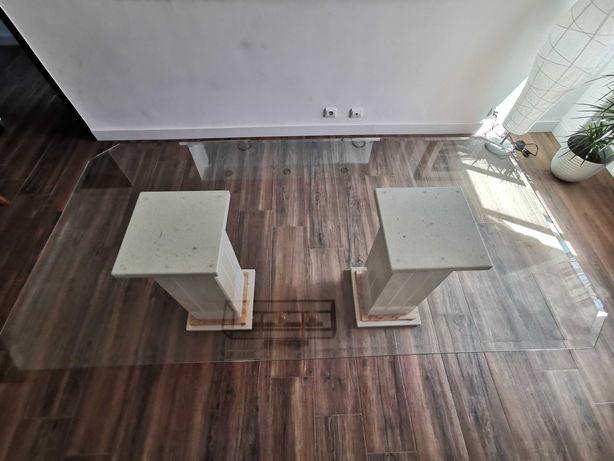 Mesa tampo vidro temperado, pés em mármore