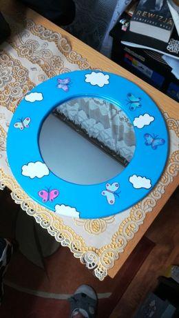 Niebieskie lustro dziecięce dla dziecka dziewczynki motyle motylki