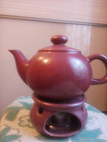 Чайник керамічкий з підставкою для підігріва