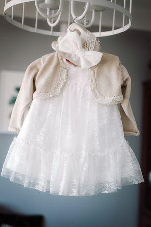 Sukienka koronkowa i bolerko do chrztu Mayoral