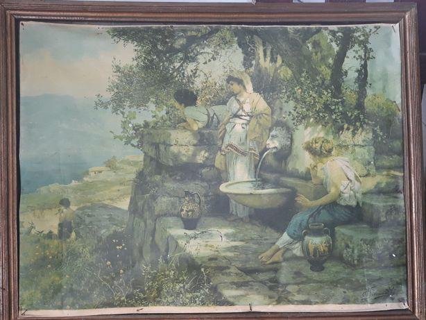 """Старинная картина """" У источника"""" 20века."""