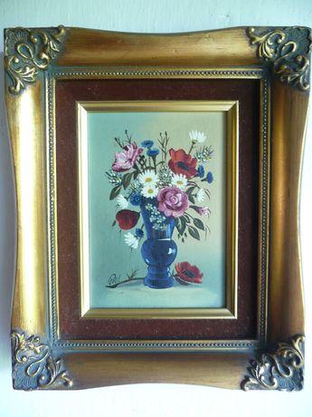 sygnowany obraz olejny kwiaty wazon podwójna zdobiona rama