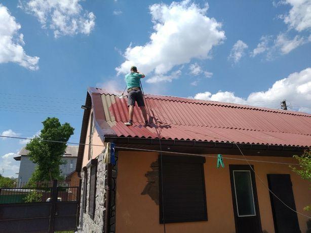 Очищення даху,Чистка шиферных крыш и др.поверхностей. Миття фасадів