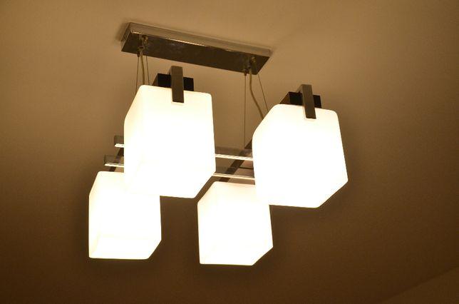 Lampa wisząca czteropunktowa żyrandol - białe klosze, wenge, chrom
