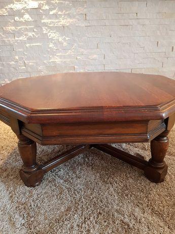 Stół drewniany dębowy ośmiokątny