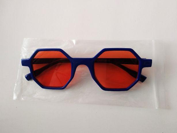 Подростковые многоугольные очки оранжевые синие с 12 лет новинка