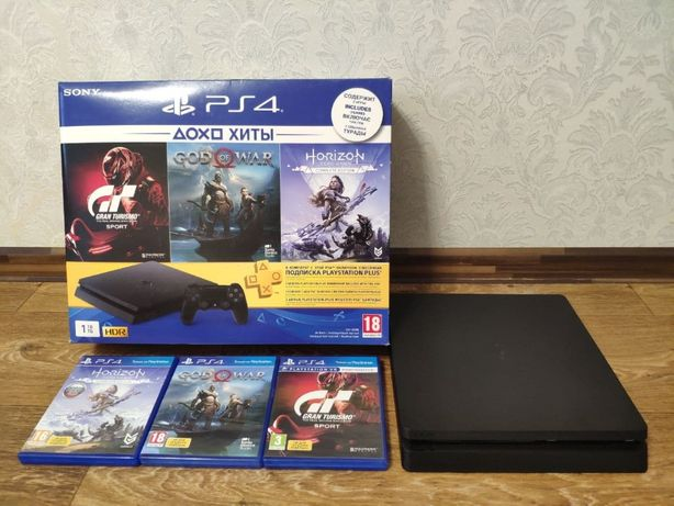 PS playstation 4 Slim 1Tb + 3 игры