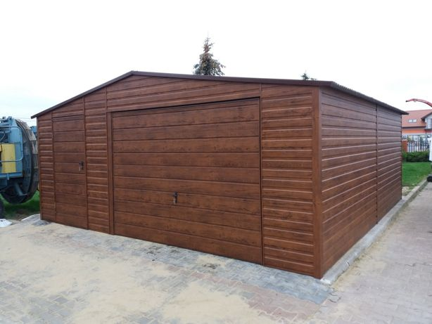 Garaż drewnopodobny, konstrukcja profil zamknięty