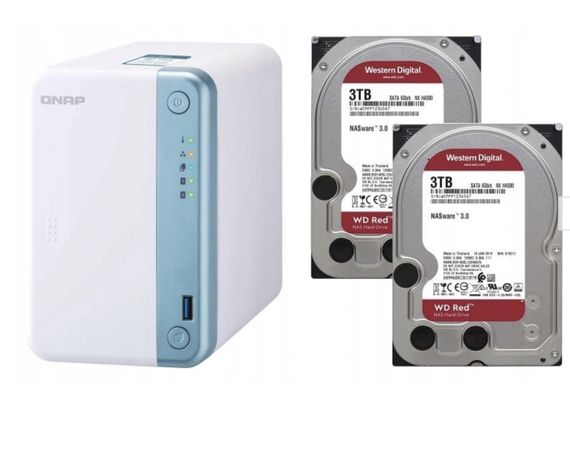 Qnap TS 251 D 16 GB RAM,HDD 2x 2 TB, QM2-2P, 2 SSD po 256 GBserwer NAS