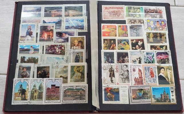 Марки почтовые, коллекция марок в альбоме, альбом с почтовыми марками