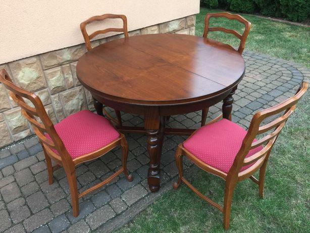 Stylowy Drewniany Stół + 4 krzesła