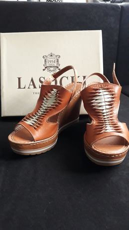 Brązowe sandały na koturnie lasocki 40 nowe z metką skórzane skóra