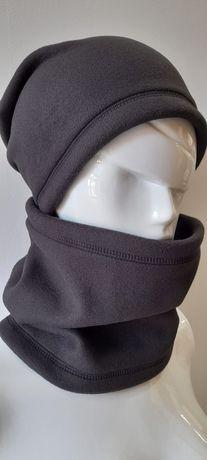 Czarny komplet polarowy czapka +Komin
