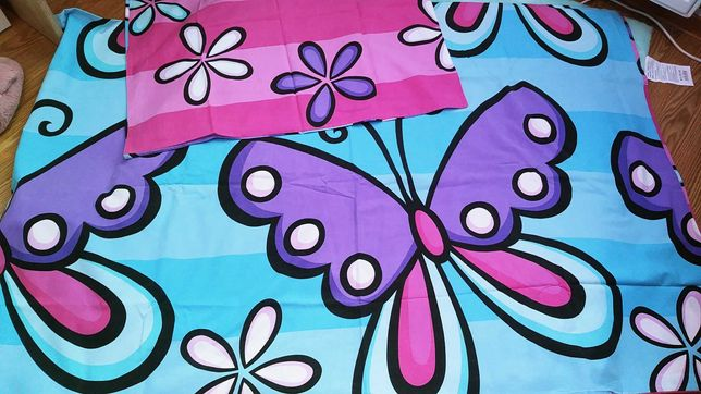 HAPPY HOUSE 160x200/70x80 pościel bawełniana dwustronna Motyle-Kwiaty