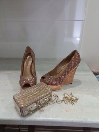 Туфлі + сумочка в золотому дизайні