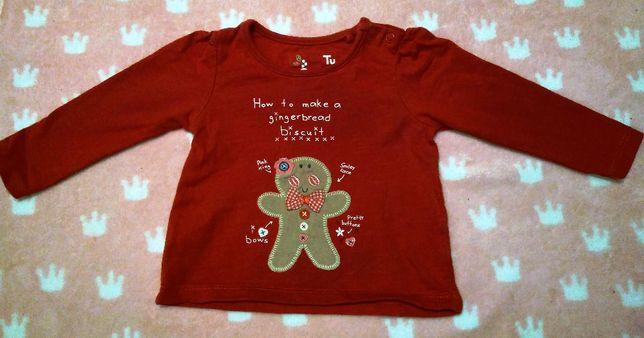 Bluzeczka w kolorze czerwonym, firmy Tu, rozmiar 62-68
